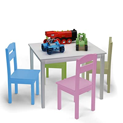 HAPPYGRILL Mini Table and Chairs Furniture Set, Children 5 Pieces Wood Table & Chair Set, Kids Table and Chairs for 2-6 Years: Kitchen & Dining