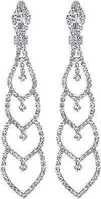 Clearine Femme Vogue Mari/ée Noces Cristal Fleur Romantique Pendant Clip-On Boucle dOreille