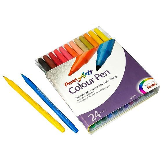 Pentel Arts Studio Set 40 Colour Fibre Felt Tip Pens /& Highlighters Storage Case