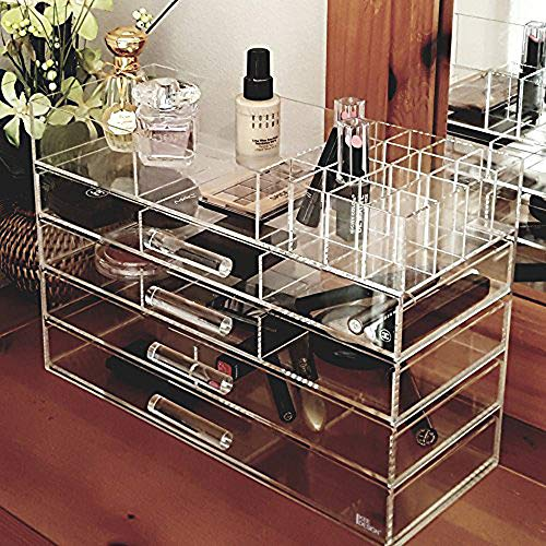 Ikee Design Clear Acrylic Cosmetics Makeup and Jewelry Storage Case Display Great for Lipstick, Nail Polish, Brushes, Jewelry and More