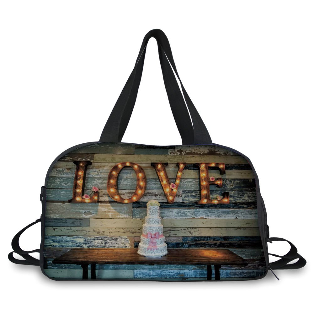 Trunk,Wedding Decorations,Wedding Cake wtih the Word Love as Sinage on Wooden Background Print,Multicolor,Picture Print