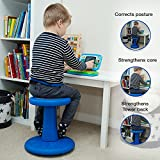 """Active Kids Chair – Wobble Chair Pre-School - Elementary School - Age Range 3-7y – Grades K-1-2 - 14"""" High – Flexible Seating Classroom - Helps ADD/ADHD - Corrects Posture - Blue"""