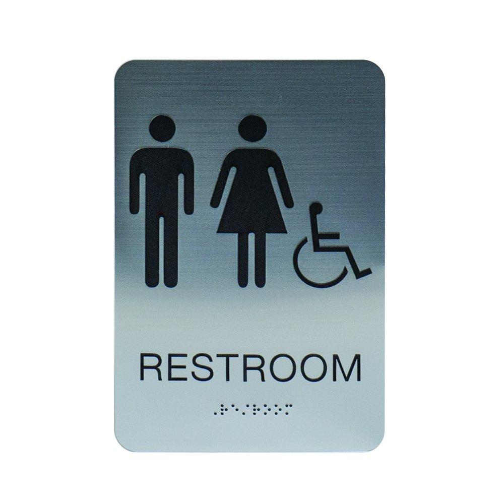 Unisex & Gender Neutral ADA Restroom (Bathroom) Modern Chic Signs w/Braille - Silver/Black