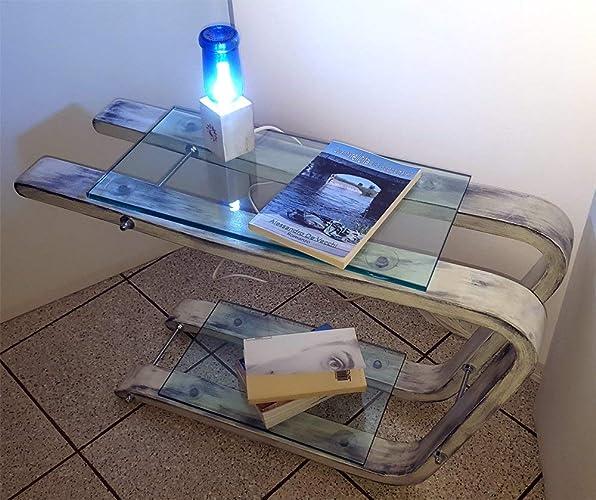 Comodino tavolino di legno con mensole di vetro: Amazon.it: Handmade