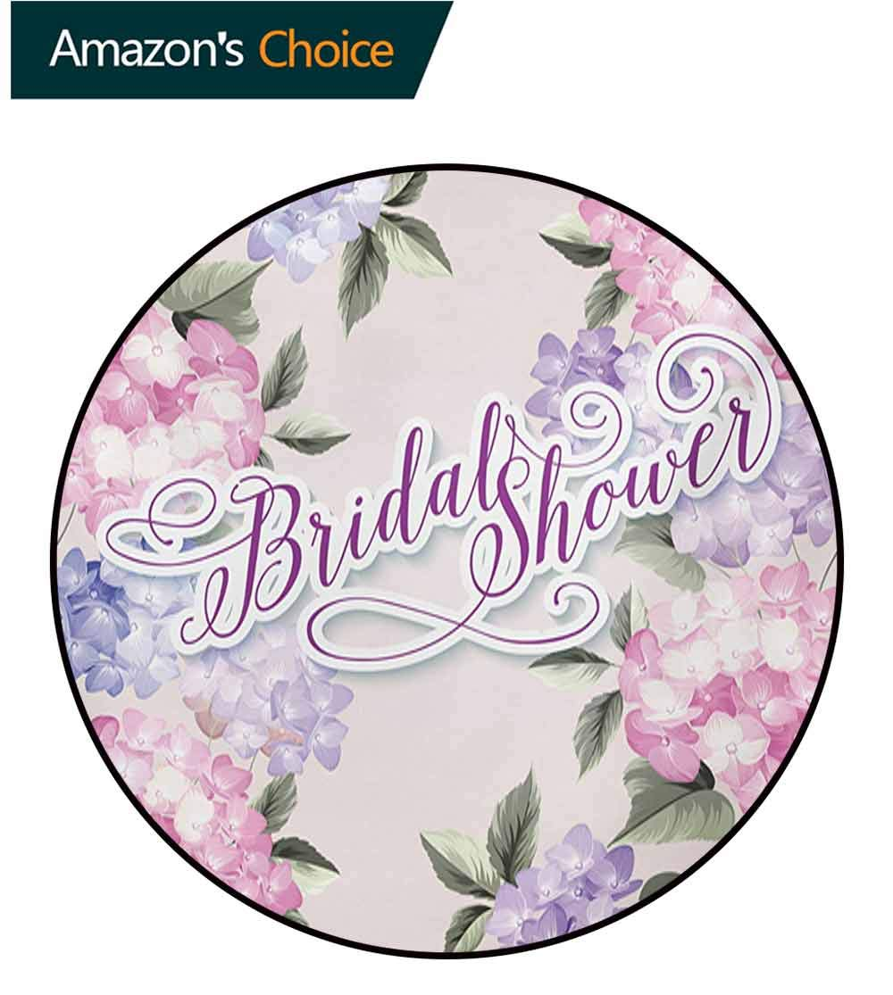 RUGSMAT Bridal Shower Modern Machine Round Bath Mat,Shabby Chic Hydrangea Flowers Wedding Bride Celebration Image Non-Slip No-Shedding Kitchen Soft Floor Mat,Diameter-55 Inch Purple and Pale Pink