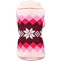 PENATE Dog Woolen Christmas Sweater Winter Warm Small Pet Apparel Mini Putty Cute Printed High Collar Shirt Soft Jacket Knitted Crochet Wool Elastic Coat Sweatshirt Xmas Doggy