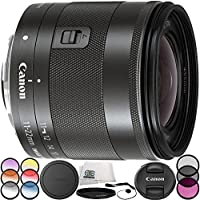 Canon EF-M 11-22mm f/4-5.6 IS STM Lens 7PC Accessory Bundle – Includes 3 Piece Filter Kit (UV + CPL + FLD) + 6PC Graduated Filter Set + MORE