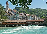 Home Comforts Peel-n-Stick Poster of Thun Switzerland Aare Alps River Forward Weir Poster 24x16 Adhesive Sticker Poster Print