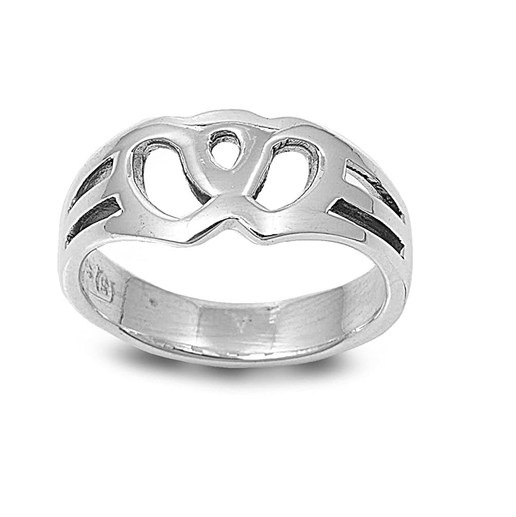 CloseoutWarehouse Attached Hearts Ring Sterling Silver 925