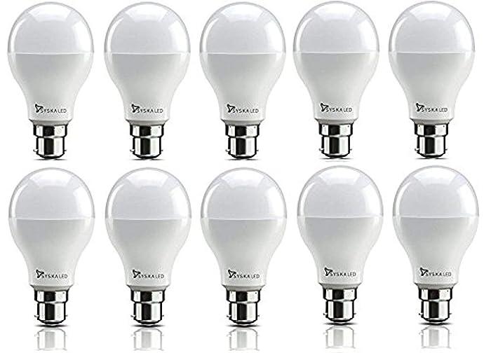 Syska SSK-SRL Base B22 9-Watt LED Bulb (Pack of 10, Cool White)