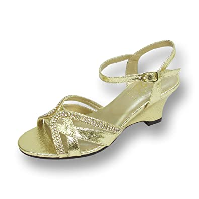 6e908ea881a5 Floral FIC Leah Women Extra Wide Width Wedge Sandals Gold 6