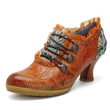 Mid SchuhePopoti Absatz Damen Mit High Heeled Schuhe Leder qUpzVSM