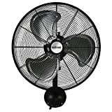 Hurricane Wall Mount Fan - 20 Inch | Pro Series | High Velocity | Heavy Duty Metal Wall Mount Fan for Industrial, Commercial, Residential, and Greenhouse Use - ETL Listed, Black