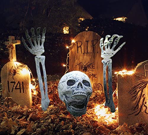 Real Looking Skeleton Stakes for Yard Oasisblossom Realistic Skull and Skeleton Arms Stakes Outdoor Lawn Halloween Graveyard Decorations with Stakes for Indoor Ground Set of 3
