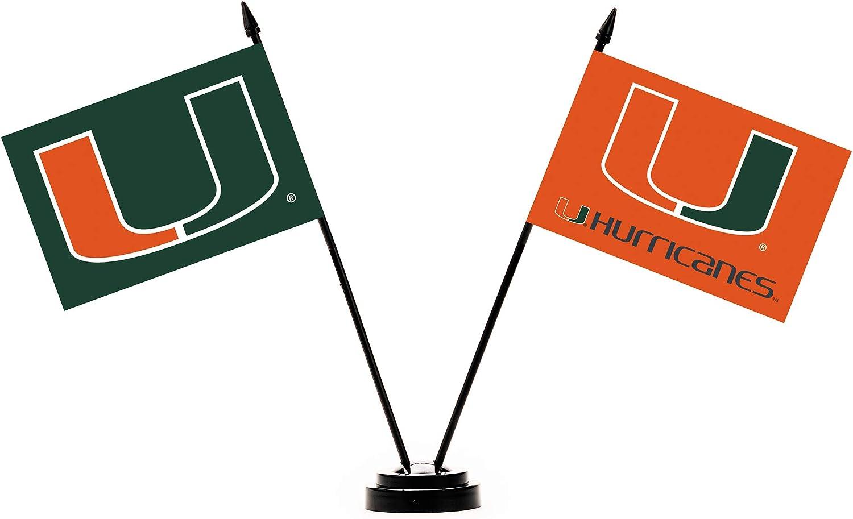 BSI NCAA Miami Hurricanes Unisex NCAA 2-Flag Desk Setncaa 2-Flag Desk Set, Green, One Size, Green