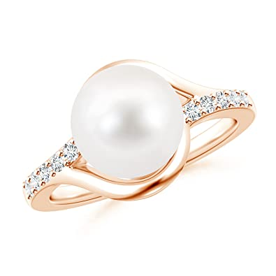 Angara Freshwater Cultured Pearl Bypass Ring with Trio Diamond 6qk5v