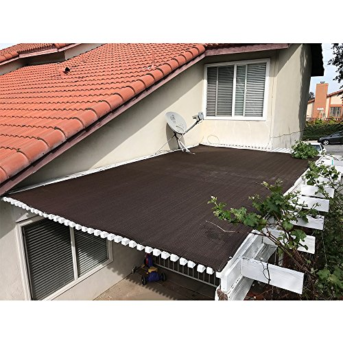 Alion Home Pergola Shade Cover Sunblock Patio Canopy HDPE Permeable Cloth with Grommets (10' x 14', Brown)