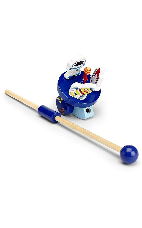 Holz f/ür Babys und Kleinkinder Schiebespielzeug mit Rakete /& Astronaut Mousehouse Gifts