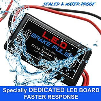 new led brake pulse flasher by stop-alert - universal speed light strobe  controller module relay, latest generation tail light & stop bulbs  for cars,
