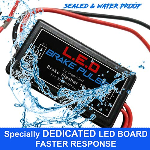 NEW LED Brake Pulse Flasher by Stop-Alert - Universal Speed Light Strobe Controller Module Relay, LATEST GENERATION Tail Light & Stop bulbs. for Cars, Trucks, Motorcycles - 24 watts - for LEDs only