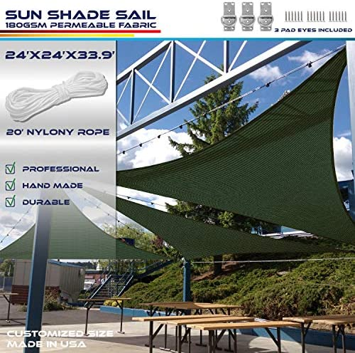 Windscreen4less 24 x 24 x 33.9 Sun Shade Sail Triangle Canopy in Green Included Free 3 Pad Eyes with Commercial Grade 3 Year Warranty Customized Size