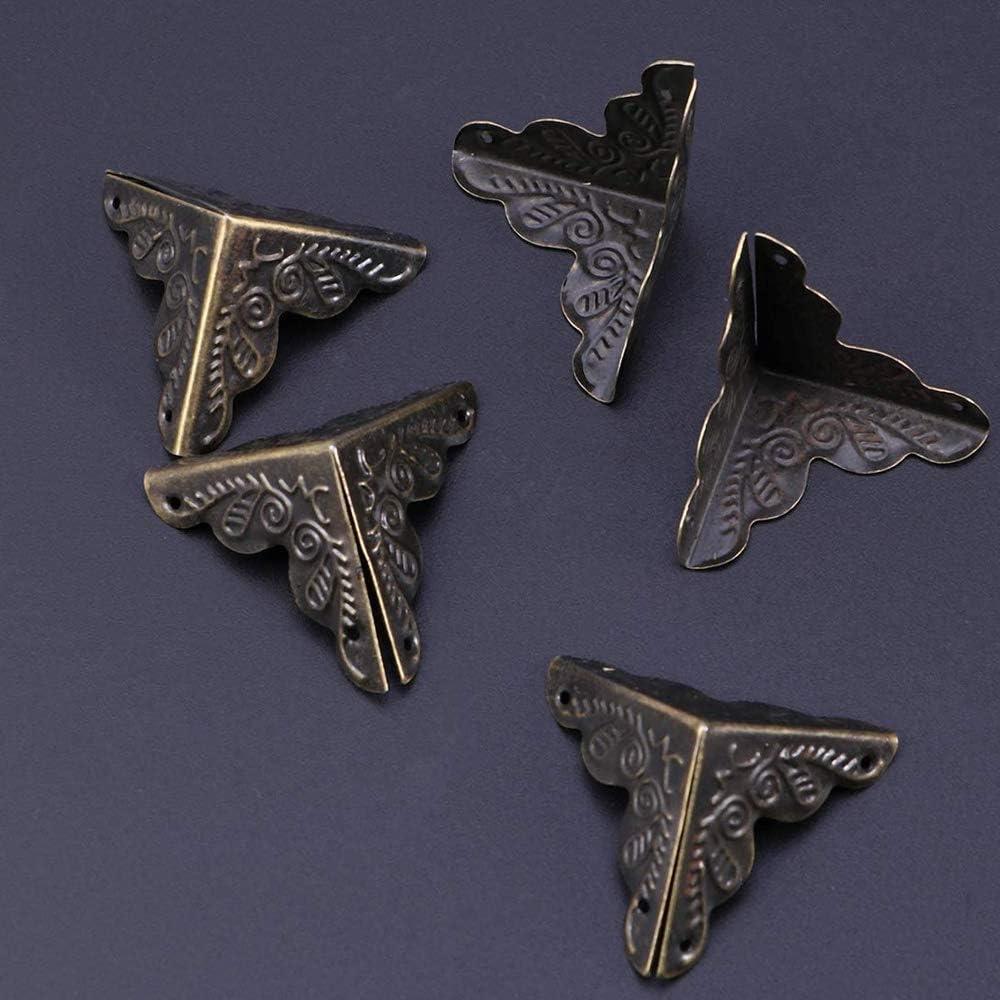 Bronce 24 Piezas Esquina Bronce Antiguo Para Decorativo de Caja Protector de Cubierta Incluye 96 Clavos