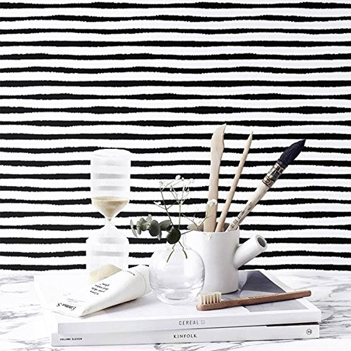 ChezMax DIY Wall Sticker Removable Wall Decal Wallpaper Decorative Wall Art for Home 6 Pcs White and Black Stripes 5.9