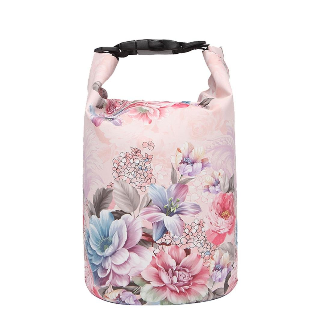 Cinhent Bag 5 Different Sizes Embossing Drifting Carry Bag Waterproof Bag, Floral Print Dive Bag, Beach Sea Beach Outdoor Travel Swimming Portable Cellphone & Purse Storage Bag (15L)