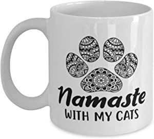 Namaste Home With My Cats 11 Oz White Coffee Mug, For Cat And Yoga Lovers, Novelty Coffee Mugs For Her, Birthday, Just Because Present Ideas For Cat And Yoga Lovers RPT7US
