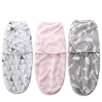 Amazon.com: Juego de 3 mantas de franela envueltas para bebé ...