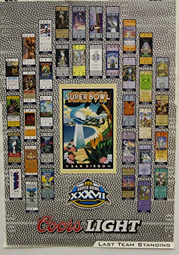 Super Bowl Ticket Poster - Coors Light Beer Poster NFL Super Bowl 37 with Ticket Copies from Previous 36 Games