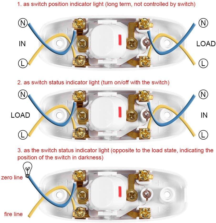 Off Interrupteur /à Bascule Interrupteur /à Bascule Led Interrupteur en Ligne Cordon Lumi/ère Interrupteur de Lampe Contr/ôle Noir 5Pcs AC 250V 10A Compact en Plastique On