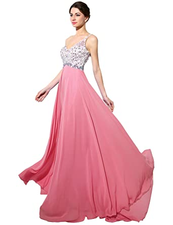 Belle House 2016 Evening Gown New Chiffon Beaded Rhinestones Prom Dresses Coral