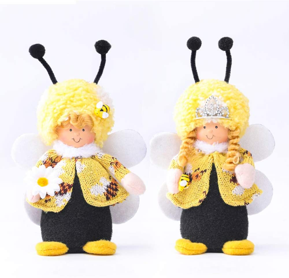 2PCS Bumble Bee Gnome Scandinavian Tomte Nisse Dwarf Swedish Figurines Bee Elf Home Farmhouse Kitchen Decor Bee Party Gift Birthday Present Tiered Tray Decorations (CMMF)