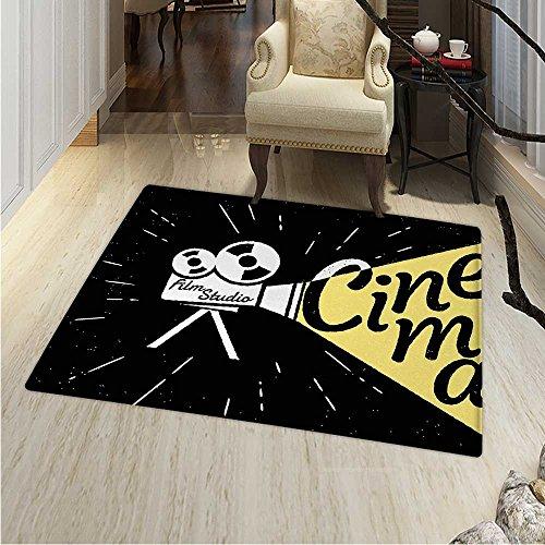 Movie Theater Rug Kid Carpet Movie Projector Sketch Grunge Cinema Lettering on Black Backdrop Home Decor Foor Carpe 3'x4' Yellow Black White ()
