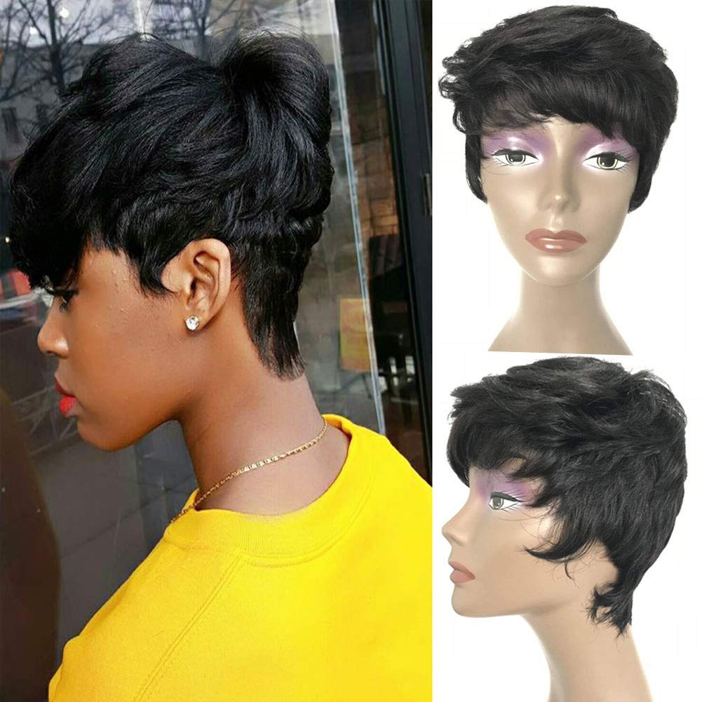 Short Pixie Cut Wig For Black Women, UDU None Lace Front Wig with Bangs  Short Human Hair Wigs 12% Virgin Human Hair Wig with Bangs 12G