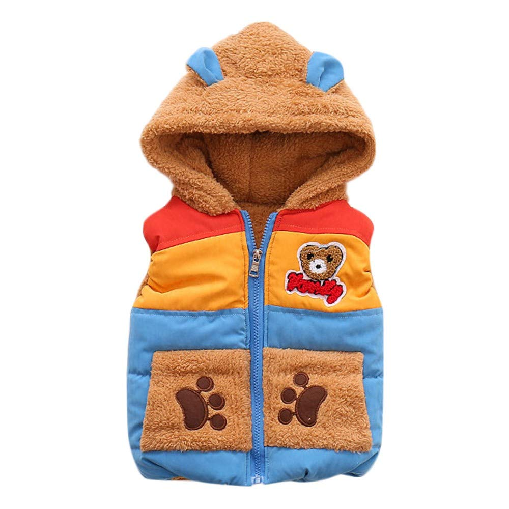XoiuSyi,Fashion Cute Autumn Winter Boys Baby Kids Outerwear Bear Cartoon Hooded Warm Vest Coat Clothes Cotton