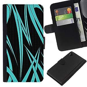 A-type (Neon Blue Tribal) Colorida Impresión Funda Cuero Monedero Caja Bolsa Cubierta Caja Piel Card Slots Para Sony Xperia Z2 D6502