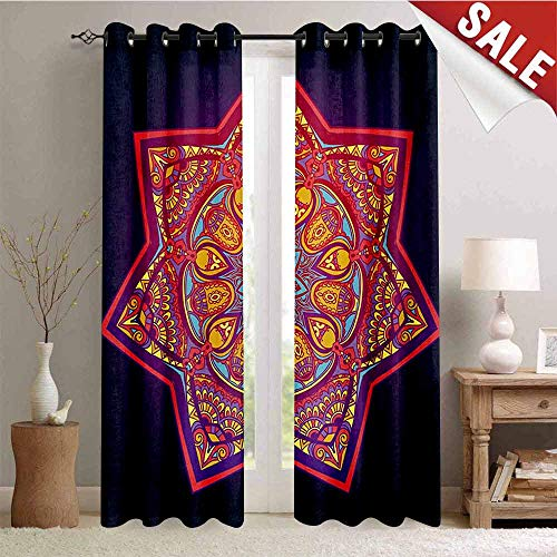 Hengshu Lotus Waterproof Window Curtain Ornamental Vibrant Mandala Universe Kaleidoscope Folk Tribal Meditation Illustration Decorative Curtains for Living Room W108 x L108 Inch Multicolor