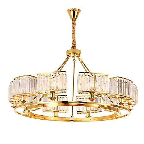 QRY Lámpara De Techo De Cristal Dorado Lámpara De Techo LED ...