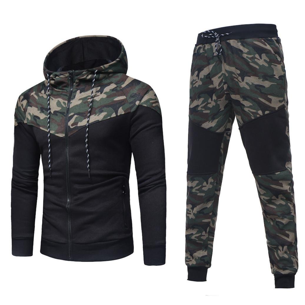 Sports Suit,Caopixx Men's Autumn Winter Camouflage Sweatshirt Top Pants Sets Tracksuit (Asia Size L=US Size M, Camouflage(Tracksuit))