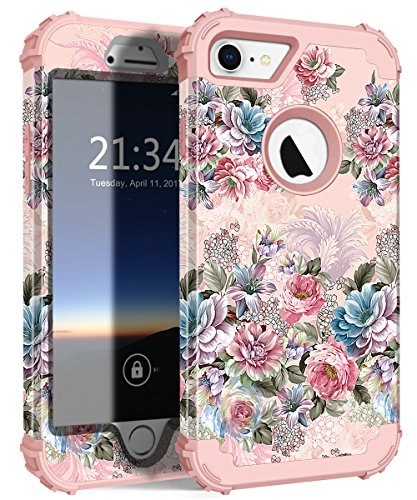 iPhone 7 Case, Hocase Drop Protection Shock Absorbing Silicone Rubber Bumper+Hard Shell Hybrid Dual Layer Full-Body Protective Case for Apple iPhone 7 (4.7-inch) 2016 - Peony Floral Print/Rose Gold