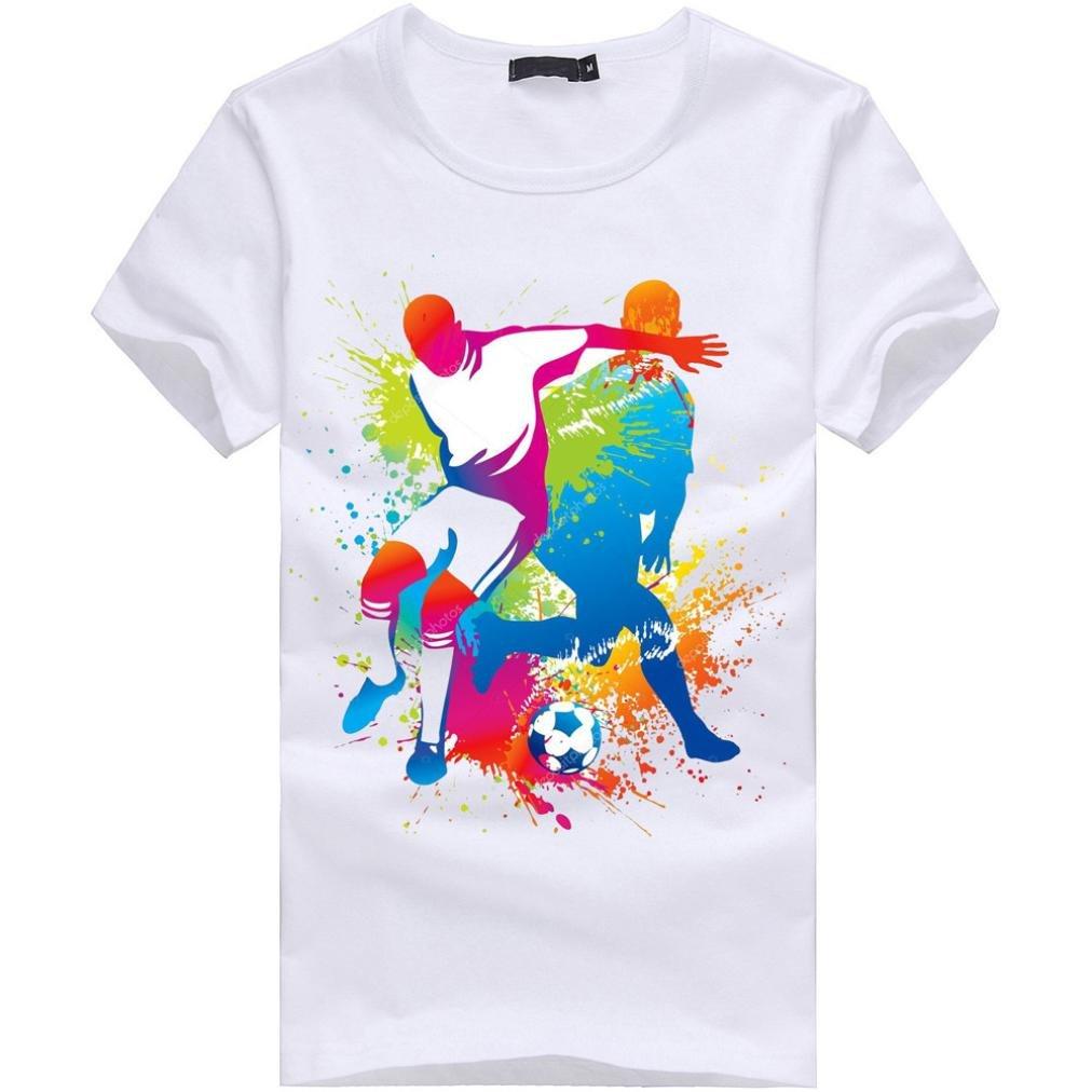 LuckyGirls Camisetas Hombre Manga Corta Originales Estampado de Fútbol Verano Moda Blanco Polos Personalidad Slim Camisas para Copa Mundial FIFA 2018 Casual ...