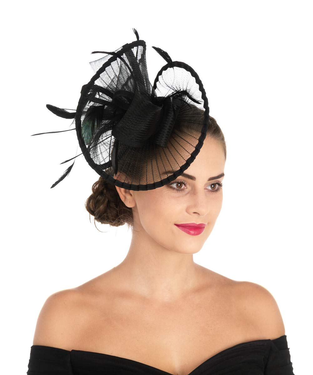 Lucky Leaf Women Girl Fascinators Hair Clip Hairpin Hat Feather Cocktail Wedding Tea Party Hat (2-Black) by Lucky Leaf (Image #3)