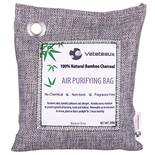 Bamboo Charcoal Air Purifying Bag - Eliminates Odors - Freshening Deodorizer Bag for Closet, Car, Kitchen, Home - Absorbs Smells for Fresher Rooms & Drawers - Reusable - 200 Grams