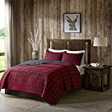 DH 3 Piece Black Red Classic Plaid Quilt Full Queen Set, Tartan Checked Pattern Bedding Cabin Lodge Themed Madras Checkered Squares Southwest Western Patchwork Reverse Solid Color, Cotton