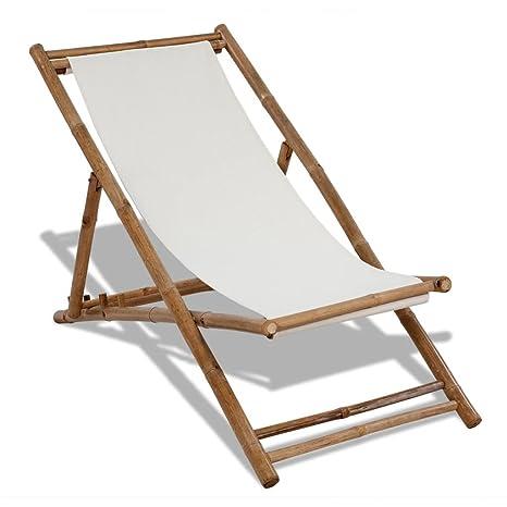 Furnituredeals tumbona madera Silla de playa de bambu y lona ...