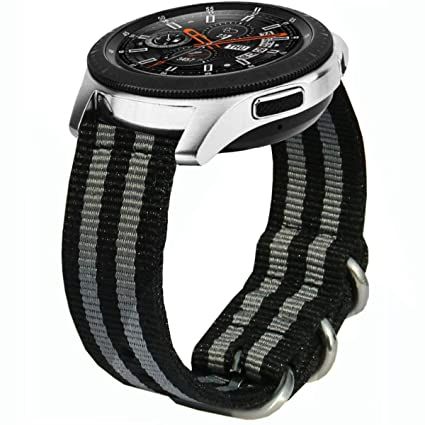 Compatible Samsung Galaxy Watch 46mm Bands & Gear S3 Bands, 22mm Ticwatch Pro Woven Nylon Nato Band Soft Replacement Strap Wristband for Gear S3 ...