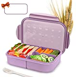 Bento Box for Kids Lunch Box Lunch Container for Adults, Leak Proof Bentogo Lunch Container, BPA Free Kids Bento Box, Portion Control Containers, Wheat Fiber Safe Healthy (Purple, rectagle)
