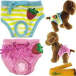 Cute Washable Reusable Strawberry Dog Pet Diapers Cover Up Sanitary Panties for Small Medium Female Girl Dogs Puppy in Spring Summer Autumn (Waistline: 7.8-11 inch)